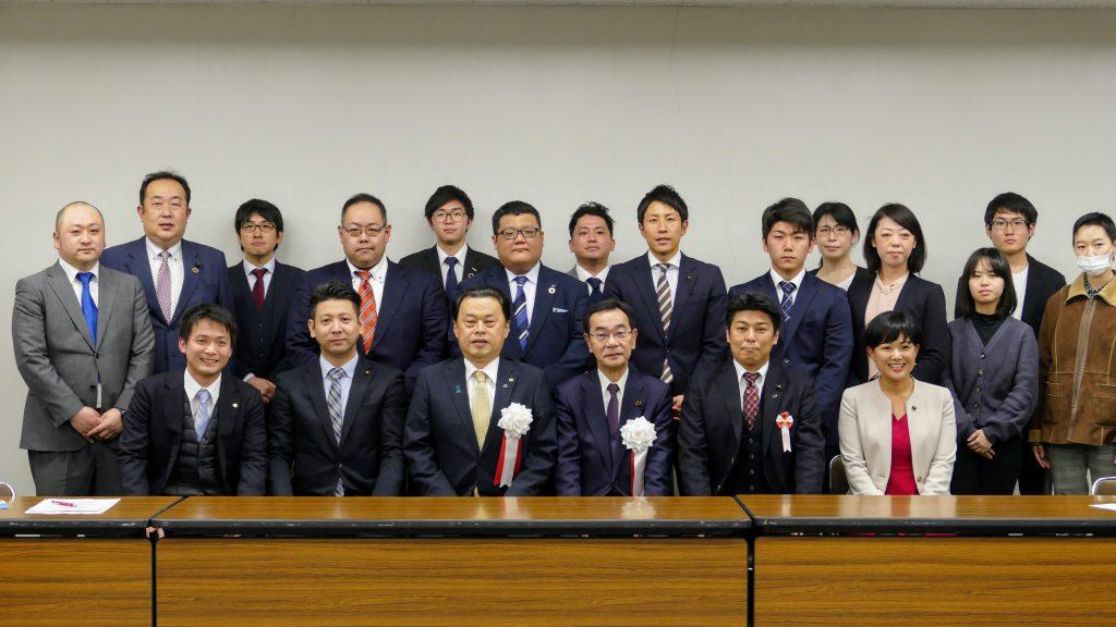 青年委員会メンバーと丸山達也 島根県知事・中村芳信 島根県議会議長